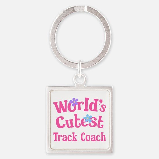 Worlds Cutest Track Coach Square Keychain
