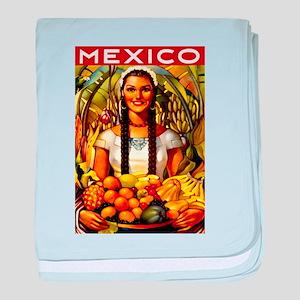 Vintage Mexico Fruit Travel baby blanket