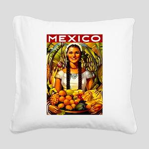 Vintage Mexico Fruit Travel Square Canvas Pillow