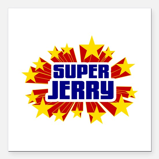 """Jerry the Super Hero Square Car Magnet 3"""" x 3"""""""