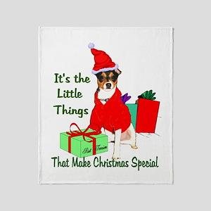 Rat Terrier Christmas Throw Blanket