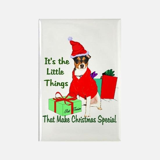 Rat Terrier Christmas Rectangle Magnet (10 pack)