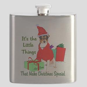 Rat Terrier Christmas Flask