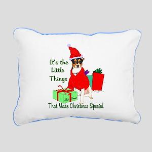 Rat Terrier Christmas Rectangular Canvas Pillow