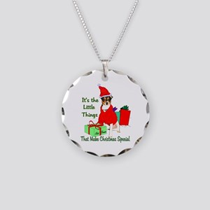 Rat Terrier Christmas Necklace Circle Charm