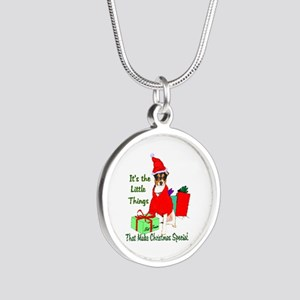 Rat Terrier Christmas Silver Round Necklace