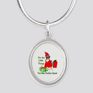 Rat Terrier Christmas Silver Oval Necklace