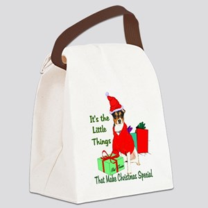 Rat Terrier Christmas Canvas Lunch Bag