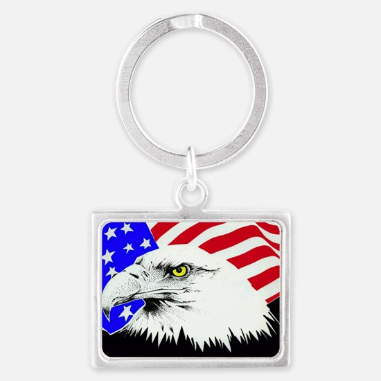 4th of july eagle_flag Keychains