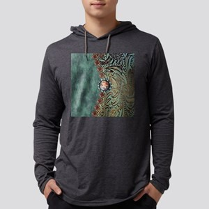 Country Western turquoise leathe Mens Hooded Shirt