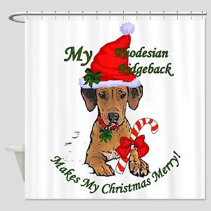 Rhodesian Ridgeback Christmas Shower Curtain