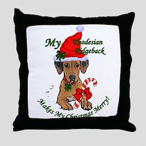 Rhodesian Ridgeback Christmas Throw Pillow