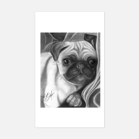 pug puppy Rectangle Decal