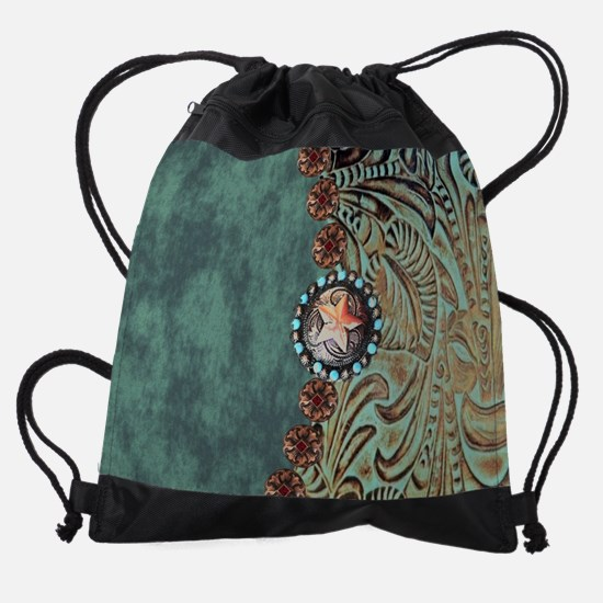 Country Western turquoise leather Drawstring Bag
