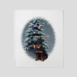 Rottweiler Christmas Throw Blanket