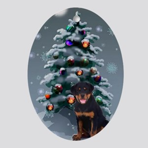 Rottweiler Christmas Ornament (Oval)