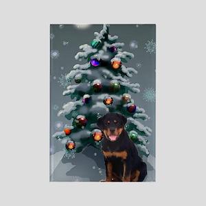 Rottweiler Christmas Rectangle Magnet (10 pack)