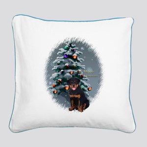 Rottweiler Christmas Square Canvas Pillow