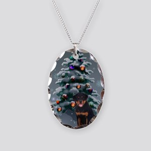 Rottweiler Christmas Necklace Oval Charm
