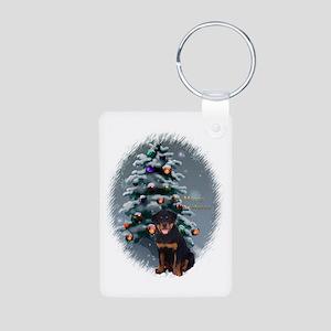 Rottweiler Christmas Aluminum Photo Keychain