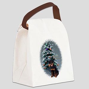 Rottweiler Christmas Canvas Lunch Bag