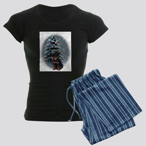 Rottweiler Christmas Women's Dark Pajamas