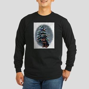 Rottweiler Christmas Long Sleeve Dark T-Shirt