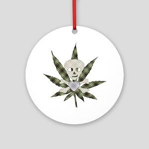Plaid Marijuana Leaf Skull Ornament (Round)
