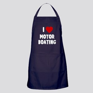 I Love Motor Boating Apron (dark)