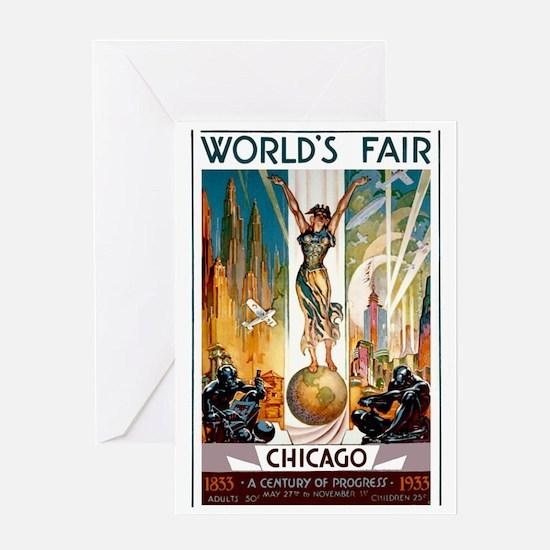 Vintage Chicago Worlds Fair B Greeting Card