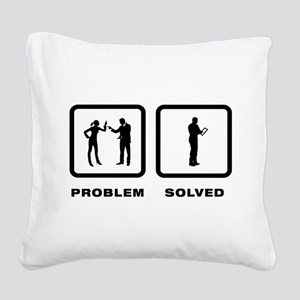 Tablet PC User Square Canvas Pillow