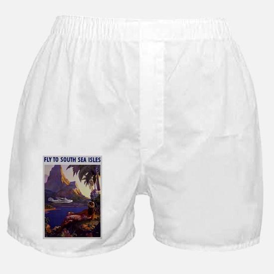 Vintage South Sea Isles Travel Boxer Shorts
