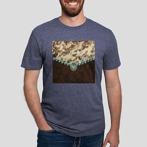 cow hide western leather Mens Tri-blend T-Shirt