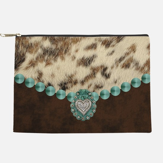 cow hide western leather Makeup Pouch