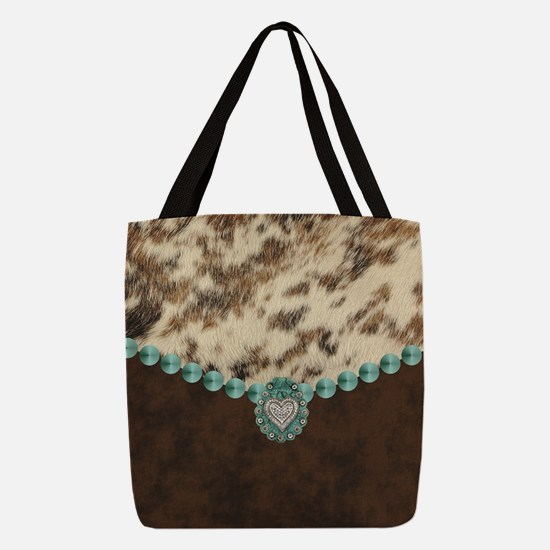 cow hide western leather Polyester Tote Bag