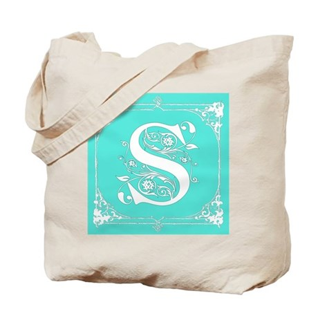 Fancy Border Seafoam Green Letter S Tote Bag