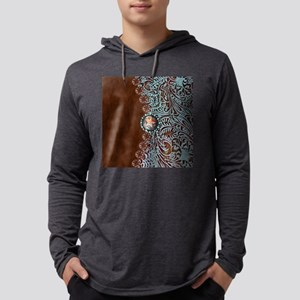 Western turquoise tooled leather Mens Hooded Shirt
