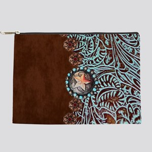 Western turquoise tooled leather Makeup Pouch