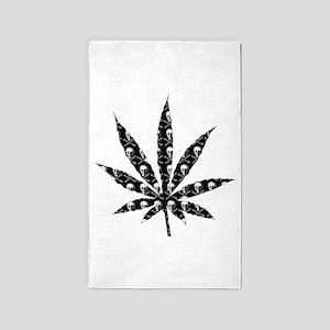 Skull Marijuana Leaf 3'x5' Area Rug