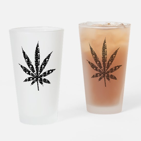 Skull Marijuana Leaf Drinking Glass