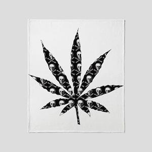 Skull Marijuana Leaf Throw Blanket