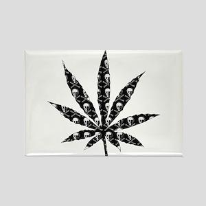 Skull Marijuana Leaf Rectangle Magnet