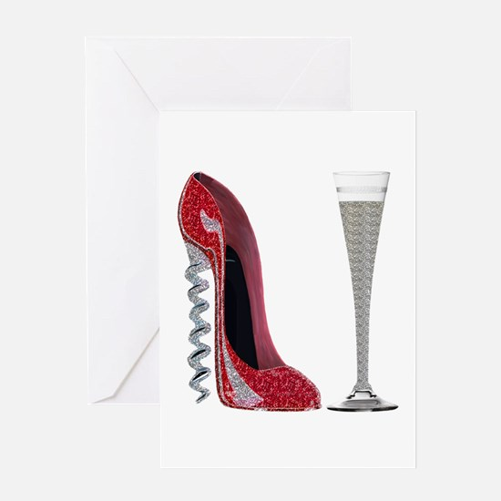Red Sparkle Corkscrew Stiletto and Champagne Flute
