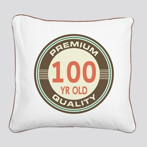 100th Birthday Vintage Square Canvas Pillow