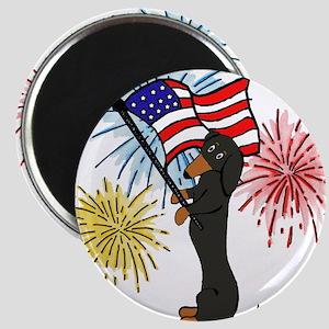 Dachshund Patriotic Black and Tan Magnet