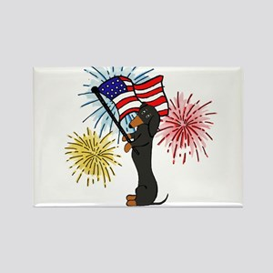 Dachshund Patriotic Black and Tan Rectangle Magnet