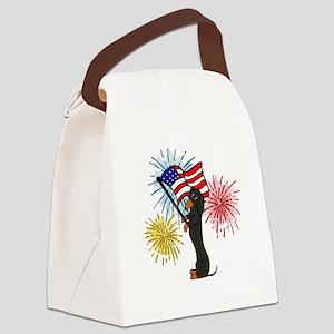 Dachshund Patriotic Black and Tan Canvas Lunch Bag