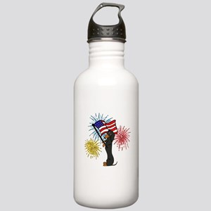 Dachshund Patriotic Black and Tan Water Bottle
