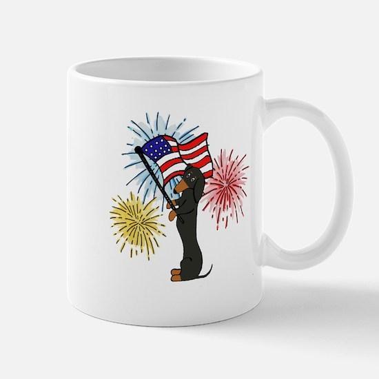 Dachshund Patriotic Black and Tan Mug