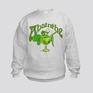 Absinthe Green Fairy In Glass Kids Sweatshirt